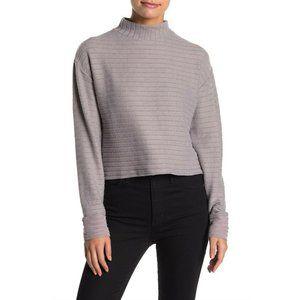 Lush Womens Mauve Gray Long Sleeve Brushed Sweater